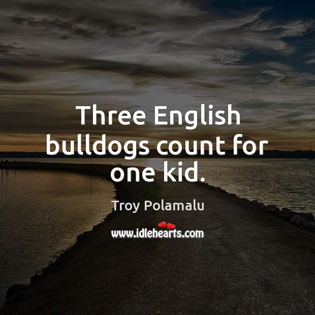 Three English bulldogs count for one kid. Troy Polamalu Picture Quote