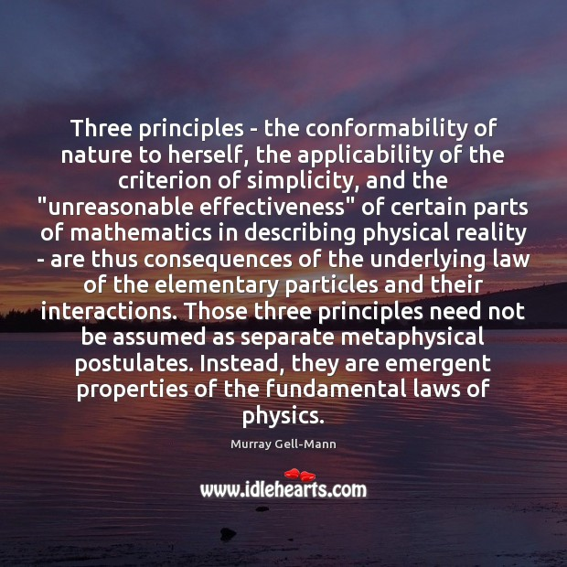 Image, Three principles – the conformability of nature to herself, the applicability of