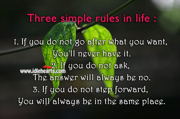 Image, Three simple rules in life