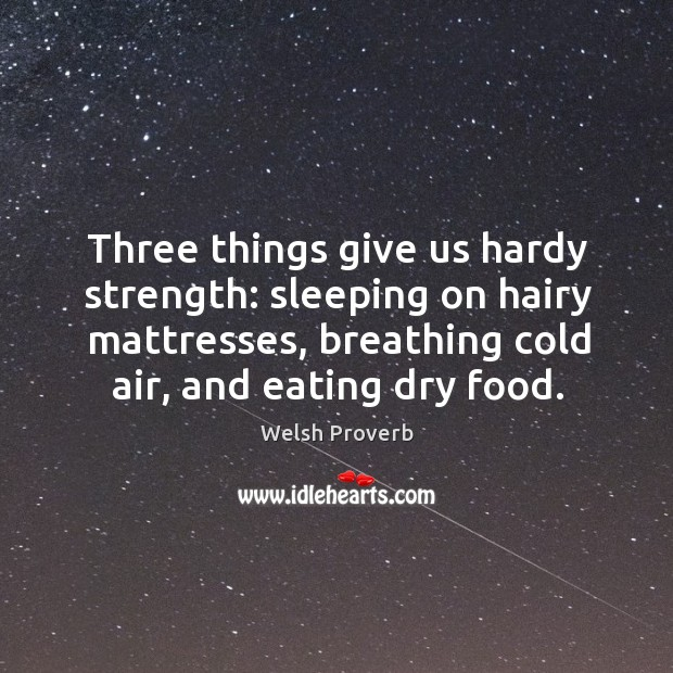 Three things give us hardy strength Welsh Proverbs Image