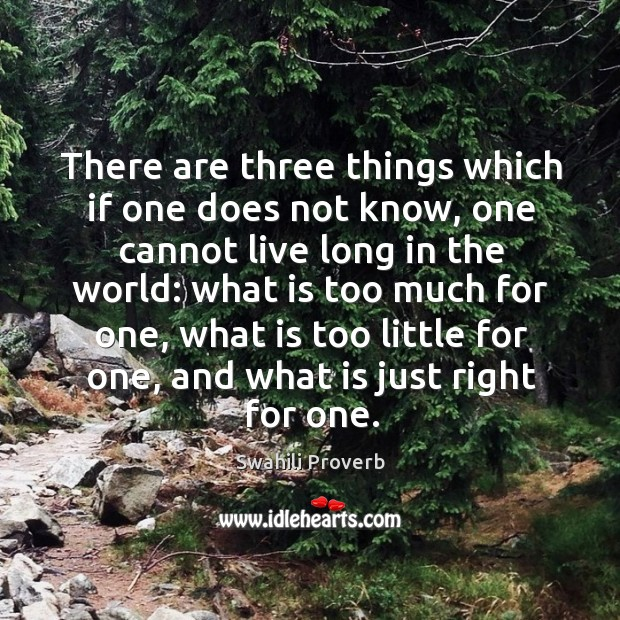 Three things which if one does not know, one cannot live long in the world Swahili Proverbs Image