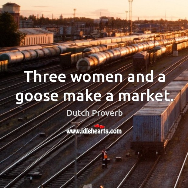 Image, Three women and a goose make a market.