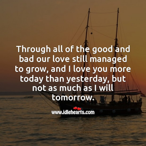 Through all of the good and bad our love still managed to grow, and I love you. I Love You Quotes Image