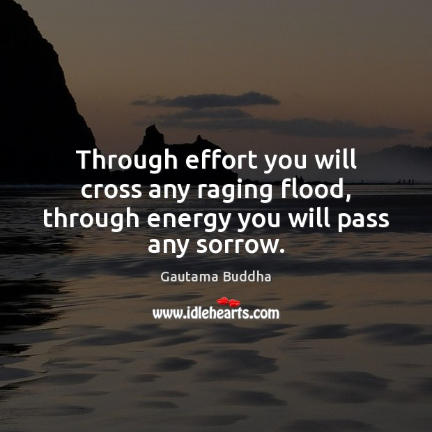 Through effort you will cross any raging flood, through energy you will pass any sorrow. Image