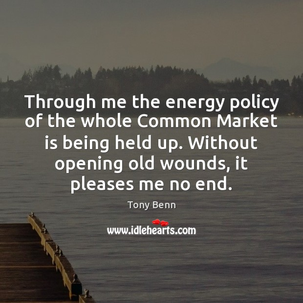 Through me the energy policy of the whole Common Market is being Tony Benn Picture Quote