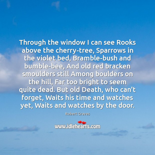 Through the window I can see Rooks above the cherry-tree, Sparrows in Robert Graves Picture Quote