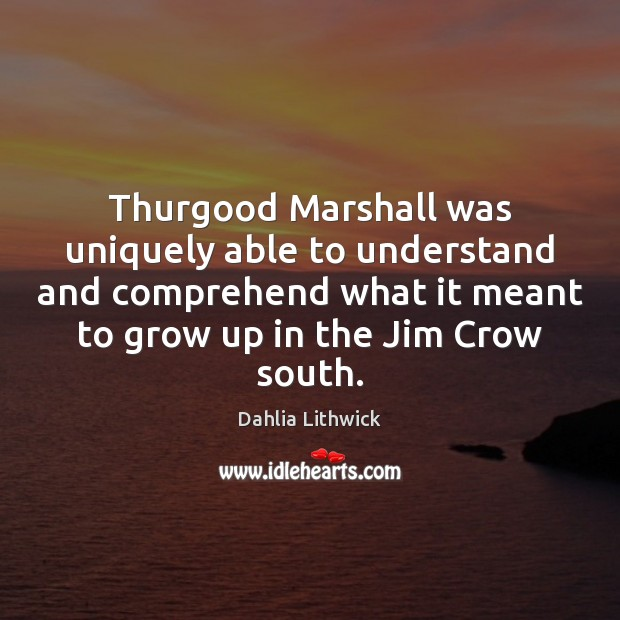 Thurgood Marshall was uniquely able to understand and comprehend what it meant Dahlia Lithwick Picture Quote