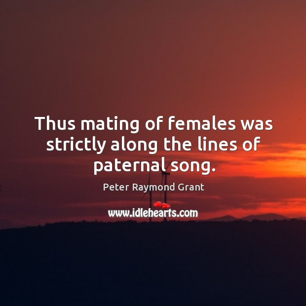 Image, Thus mating of females was strictly along the lines of paternal song.