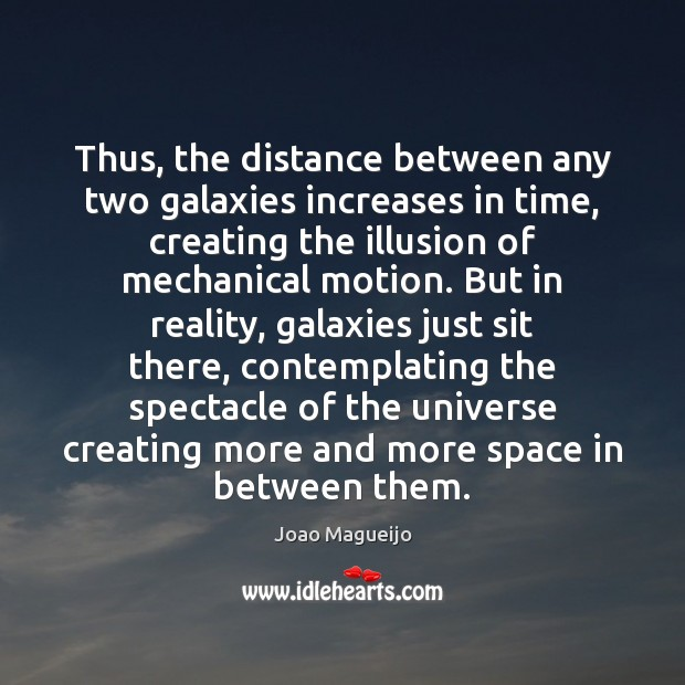 Thus, the distance between any two galaxies increases in time, creating the Image