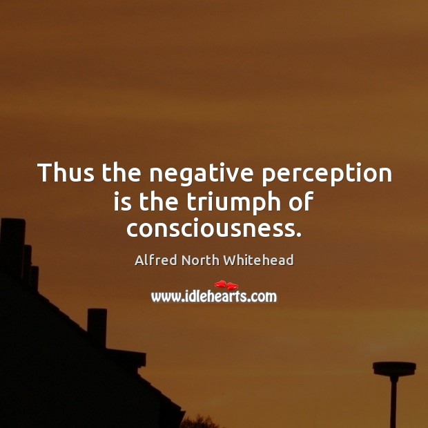 Thus the negative perception is the triumph of consciousness. Perception Quotes Image