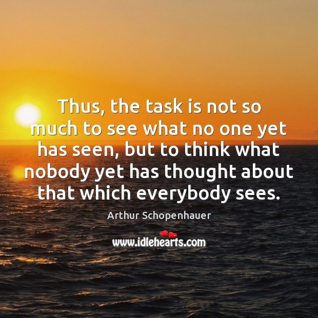Thus, the task is not so much to see what no one Arthur Schopenhauer Picture Quote
