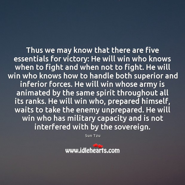Thus we may know that there are five essentials for victory: He Image