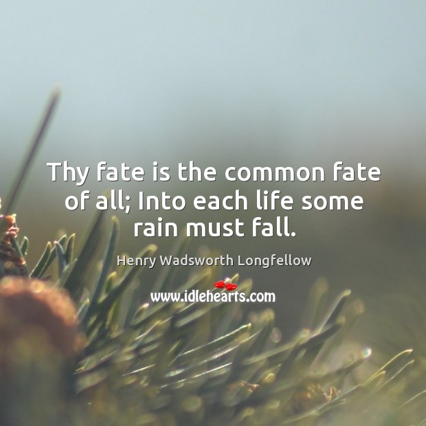 Image, Thy fate is the common fate of all; into each life some rain must fall.