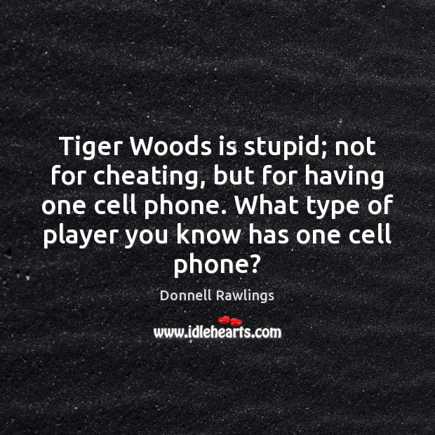 Tiger Woods is stupid; not for cheating, but for having one cell Cheating Quotes Image