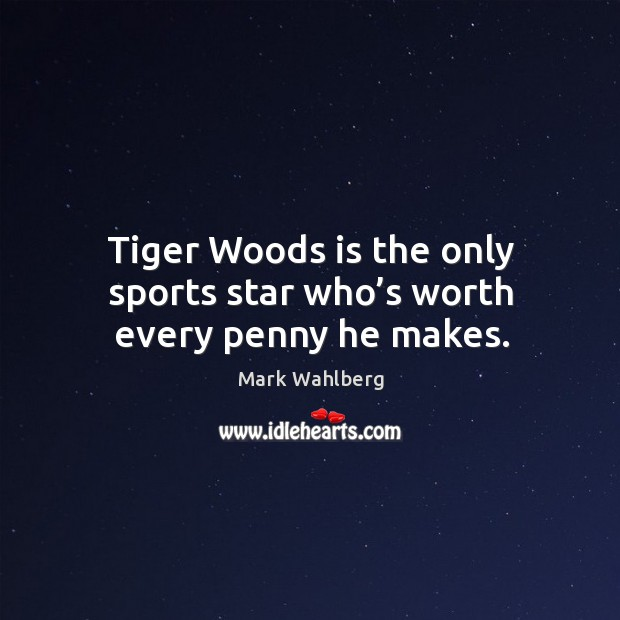 Tiger woods is the only sports star who's worth every penny he makes. Image