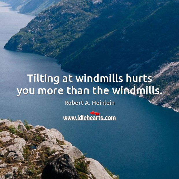 Tilting at windmills hurts you more than the windmills. Image