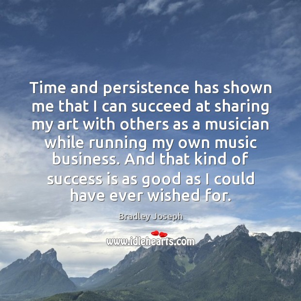 Image, Time and persistence has shown me that I can succeed at sharing