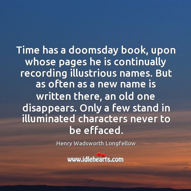 Image, Time has a doomsday book, upon whose pages he is continually recording