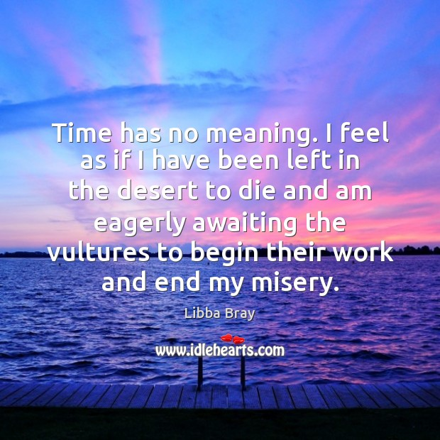 Time has no meaning. I feel as if I have been left Libba Bray Picture Quote