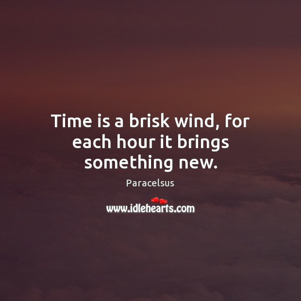 Time is a brisk wind, for each hour it brings something new. Paracelsus Picture Quote