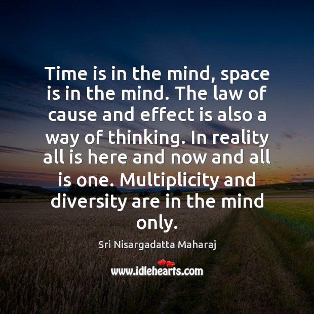 Time is in the mind, space is in the mind. The law Space Quotes Image