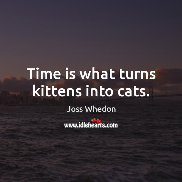 Time is what turns kittens into cats. Joss Whedon Picture Quote