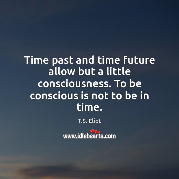 Image, Time past and time future allow but a little consciousness. To be
