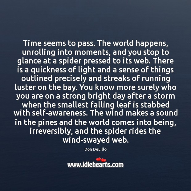 Time seems to pass. The world happens, unrolling into moments, and you Image