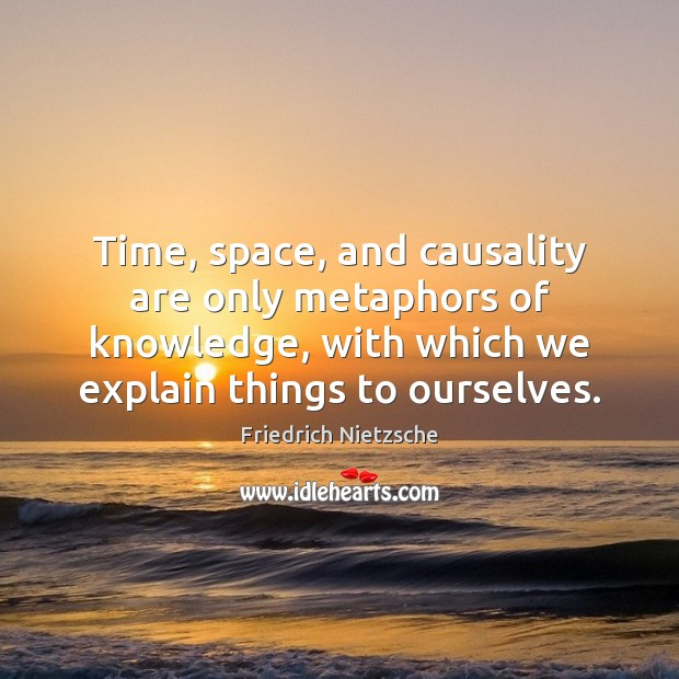 Time, space, and causality are only metaphors of knowledge, with which we Image