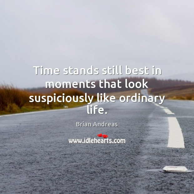 Time stands still best in moments that look suspiciously like ordinary life. Brian Andreas Picture Quote