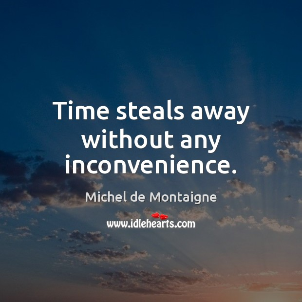 Time steals away without any inconvenience. Michel de Montaigne Picture Quote
