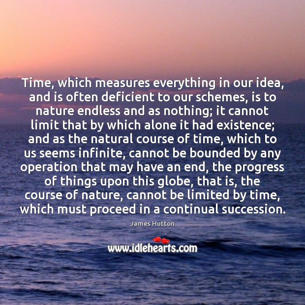 Time, which measures everything in our idea, and is often deficient to James Hutton Picture Quote