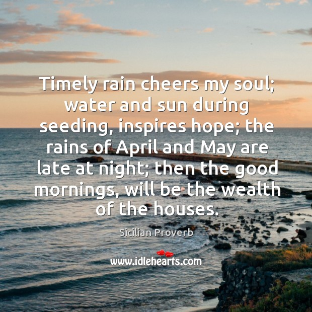 Image, Timely rain cheers my soul; water and sun during seeding, inspires hope.