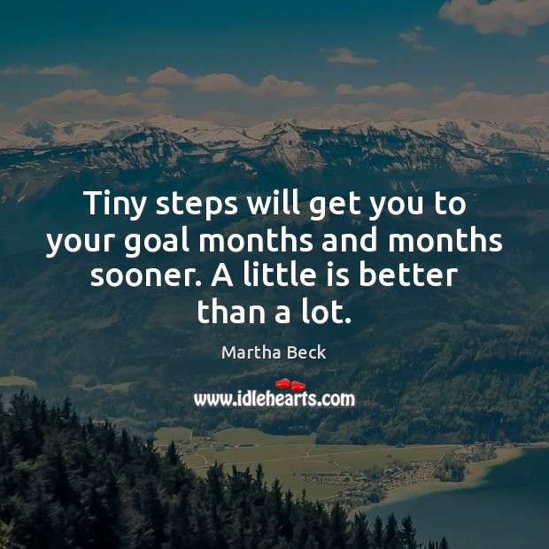 Image, Tiny steps will get you to your goal months and months sooner.