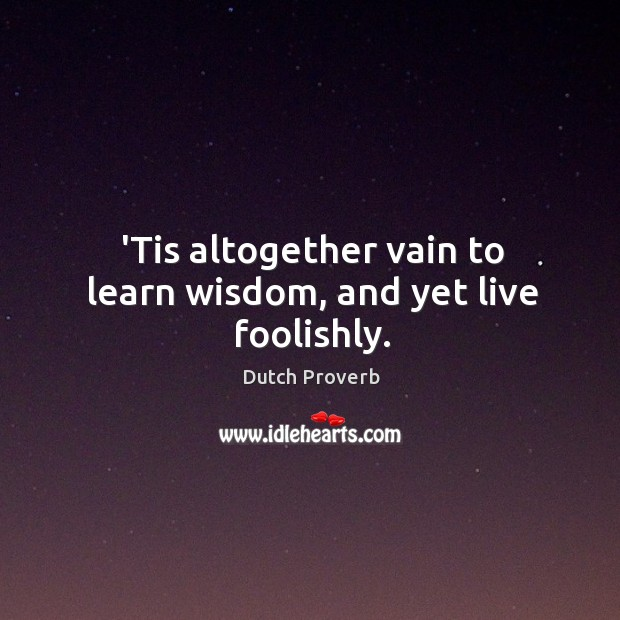 'tis altogether vain to learn wisdom, and yet live foolishly. Dutch Proverbs Image