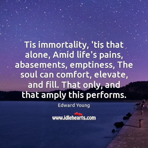 Tis immortality, 'tis that alone, Amid life's pains, abasements, emptiness, The soul Image