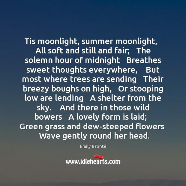 Image, Tis moonlight, summer moonlight,   All soft and still and fair;   The solemn