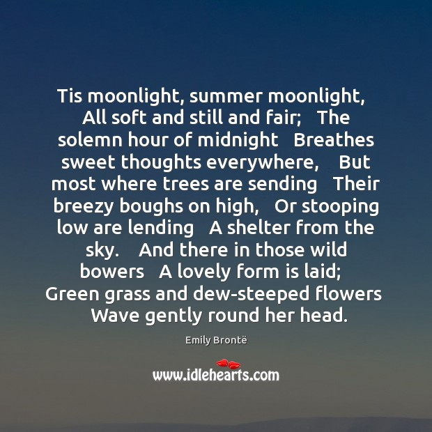 Tis moonlight, summer moonlight,   All soft and still and fair;   The solemn Summer Quotes Image