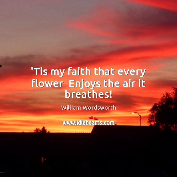 'Tis my faith that every flower  Enjoys the air it breathes! William Wordsworth Picture Quote