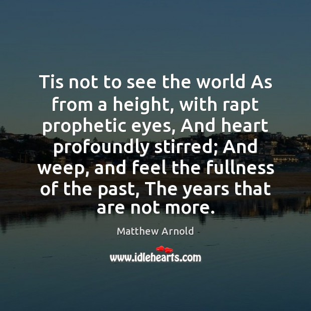 Tis not to see the world As from a height, with rapt Image