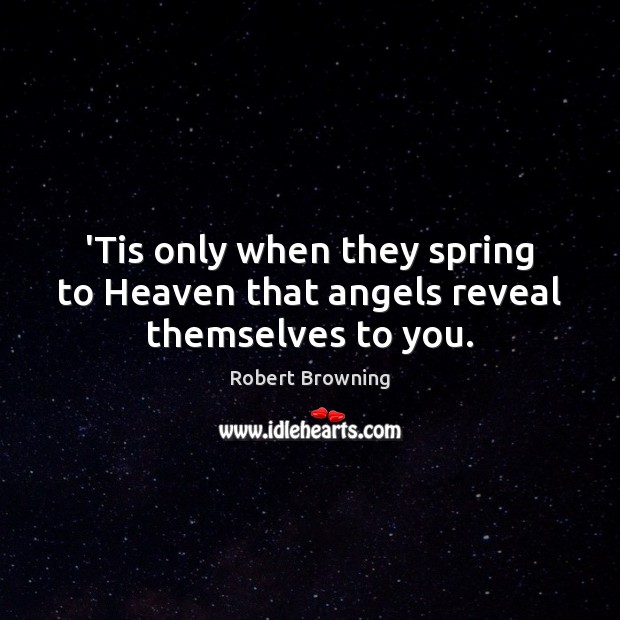 'Tis only when they spring to Heaven that angels reveal themselves to you. Image