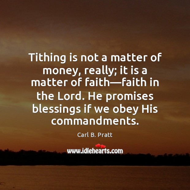 Image, Tithing is not a matter of money, really; it is a matter