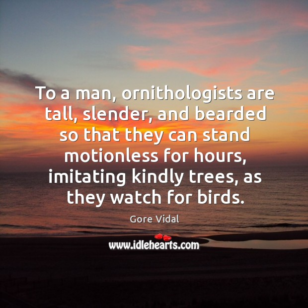 To a man, ornithologists are tall, slender, and bearded so that they can stand motionless for hours Image
