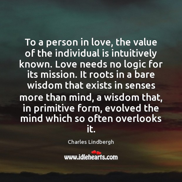 To a person in love, the value of the individual is intuitively Image