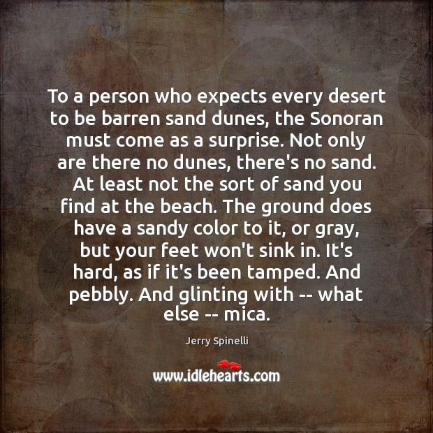 To a person who expects every desert to be barren sand dunes, Jerry Spinelli Picture Quote