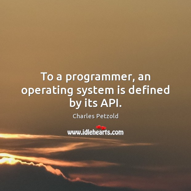 To a programmer, an operating system is defined by its API. Image