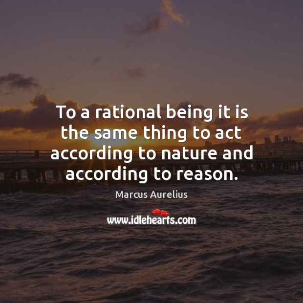 To a rational being it is the same thing to act according Image