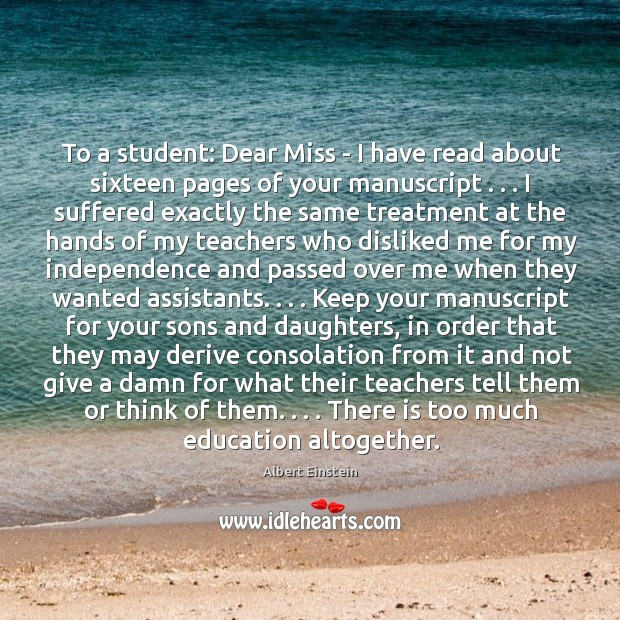 To a student: Dear Miss – I have read about sixteen pages Image