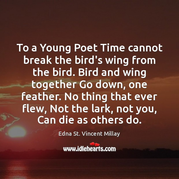 To a Young Poet Time cannot break the bird's wing from the Edna St. Vincent Millay Picture Quote