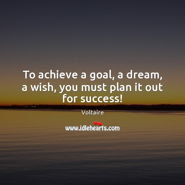 To achieve a goal, a dream, a wish, you must plan it out for success! Image
